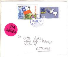 GOOD CHILE Postal Cover To ESTONIA 2014 - Good Stamped: Children / Flag ; Map - Chile
