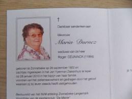 Doodsprentje Maria Durnez Zonnebeke 26/9/1922 Ieper 28/1/2010 ( Roger Ceuninck ) - Religión & Esoterismo
