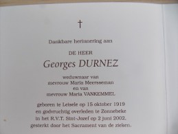 Doodsprentje Georges Durnez Leisele 15/10/1919 Zonnebeke 2/6/2002 ( Maria Meersseman En Maria Vankemmel ) - Religion & Esotericism