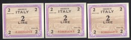 Tre 2 AM Lire Del 1943 - FDS - Num. Consecutiva - Occupazione Alleata Seconda Guerra Mondiale