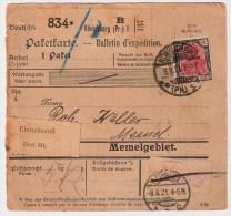 """DR, 1921, Paketkarte, """" Königsberg (Pr.) """"  , S221 - Briefe U. Dokumente"""