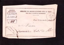 Demande De Renseignements Sur Le Sort D´un Objet Charge Ou Recommande .1886 .de Ducey 50 Vers Dinan 22 . - 1876-1898 Sage (Type II)