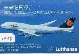 Télécarte Japon * AVION *  LUFTHANSA (1948)  Japan Phonecard * AIRPLANE * AIRLINES * AVIATION * TK FLUGZEUG - Avions