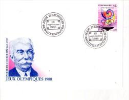 De Coubertin-JO Séoul-Luxembourg-FDC - Zomer 1988: Seoel