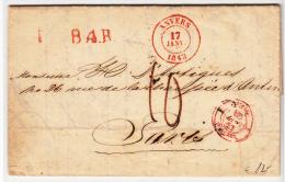 BELGIUM USED COVER 17/01/1843 ANVERS VERS PARIS - 1830-1849 (Belgique Indépendante)