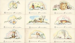 9  Petites Cartes De Bonne Année/Paysages Sous La Neige / Vers 1940-1950        CVE39 - Nieuwjaar