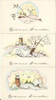 3  Petites Cartes De Bonne Année/Paysages Sous La Neige / Vers 1940-1950        CVE40 - Nouvel An