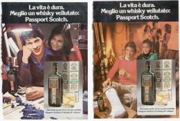 1974 - Passport Scotch - 2 Pagine Pubblicità Cm. 13 X 18 - Whisky