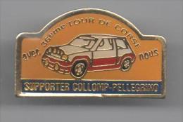 PINS PIN'S CORSE AUTO RALLYE DE FRANCE 36 Eme TOUR DE CORSE 30 MMS  AUTOMOBILE SUPPORTER COLLOMP PELLEGRINO RENAUT CLIO - Other