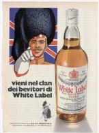 1974 - Whisky White Label - 1 Pagina Pubblicità Cm. 13 X 18 - Whisky
