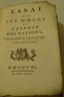 @ RARE LIVRE ANNEe 1771  TOME 3 ESSAI SUR MOEURS ET L´ ESPRIT DES NATIONS VOLTAIRE - Livres, BD, Revues