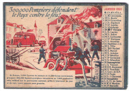Petit Calendrier Pompiers 1951 1 Illustration Par Mois - Calendars