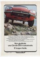 1974 - Automobili CITROEN DS  -  1 Pag Pubblicità Cm. 13x18 - Cars
