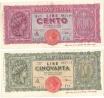 Banca D´Italia 50 E 100 Lire 10-12-1944.Introna-Urbini - [ 1] …-1946 : Regno