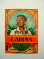 ETIQUETTE DE RHUM - CARINA 40° - DE CLERCK NEGOCIANT HAZEBROUCK PERONNE* - Rhum