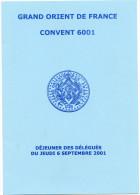 Franc-maçonnerie, Menu, Convent 6001, Grand Orient De France - Menus