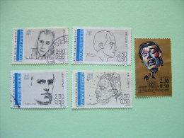 France 1990/91 Scott B619, B628/31 = 5.40 $ - Music Singer Brel Writers Poets Aragon Eluard Breton Char - Frankreich