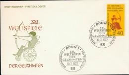 DV13-036 WEST GERMANY 1972 FDC MI 733 ARCHERY, BOOGSCHIETEN, BOGENSCHIESSEN, BEHINDERTEN, DISABLED. - Boogschieten