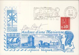 France Flamme La Rochelle Autour D'une Marianne Signé Pierre Bequet  1992   - 626 - Postmark Collection (Covers)