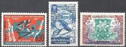 1967  Algérie N° 452 à 454  Nf**   Sport  Jeux Méditerranéens  Jeux Olympiques D'hiver De Grenoble - Argelia (1962-...)