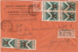 """BUSTA COMM.LERACC.  INTESTATA """"SOCIETA' CONDOMINI COZZO-MINIERA COZZO DISI-CASTELTERMINI ZOLFARE AGRIGENTO'"""" - 1946-60: Marcophilia"""
