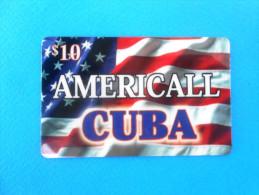 USA FLAG - CUBA ( Usa Americall Prepaid Card ) Gsm Remote Drapeau Bandera Bandiera Fahne - Vereinigte Staaten