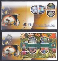 Fiji 2000 New Millennium Unusual Stamps+S/S On 2 FDCs(Hard To Find!!!) - Fiji (1970-...)