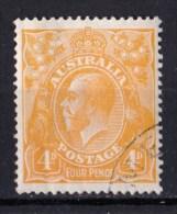 Australia 1915 King George V 4d Orange Single Crown Wmk CTO - Vertical Crease
