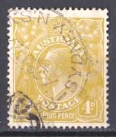 Australia 1924 King George V 4d Olive Single Crown Wmk Used