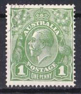 Australia 1926 King George V 1d Green Small Multi Wmk P14 Probable CTO no Gum