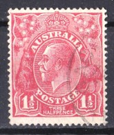 Australia 1926 King George V 11/2d Rose-Red Small Multi Wmk P14 Used