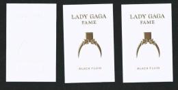 3 X Singapore Perfume Cards Carte Parfumee -- LADY GAGA FAME BLACK FLUID - Modern (from 1961)
