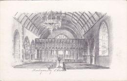 MONTGOMERY CHURCH INTERIOR. JUDGES PENCIL SKETCH - Montgomeryshire