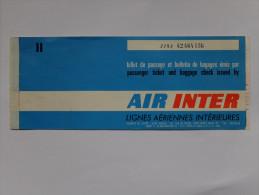 TITRE DE TRANSPORT - AVION - AIR INTER - 1977 - TOULOUSE A PARIS - Europe