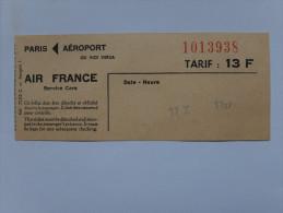 TITRE DE TRANSPORT - AUTOBUS - LIAISON PARIS AEROPORT OU VICE VERSA - AIR FRANCE SERVICE CARS - 1977 ?