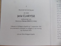 Doodsprentje Jerie Clarysse Rollegem Kapelle 11/9/1926  Ledegem 18/1/2010 ( Denise Denys ) - Religión & Esoterismo