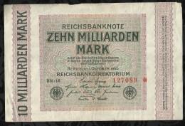 ALLEMAGNE .  BILLET DE 10 MILLIARD EN MARK . 1923 . - [ 3] 1918-1933 : République De Weimar