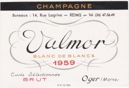 Etiquette Champagne Valmor Blanc De Blancs - OGER (Marne) - 1959 - Champagne