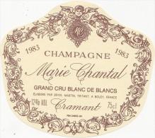 Ancienne Etiquette Champagne Marie Chantal GRAND CRU BLANC DE BLANCS - 1983 - CRAMANT - Champagne