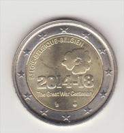 BELGIO BELGIQUE  2 Euro 2014  100° Ann. Dell' Inizio Della Prima Guerra Mondiale  (1914/1918) FDC - België