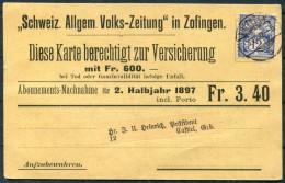 1897 Switzerland Schweiz Allgem Volks-Zeitung Zofingen Subscription Postcarte - Cartas
