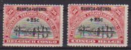 RUANDA-URUNDI 1925  SOPRASTAMPATA YVERT 77-78 MLH VF