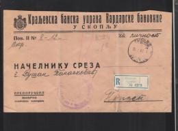 Yugoslavia Registered Official Cover Skoplje 1941 - 1931-1941 Königreich Jugoslawien