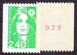France Roulette N° 2823 A ** Briat - Marianne Du Bicentenaire - Le 2f40 Vert N° Rouge Au Verso - Rollen