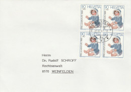 1987 Weinfelden SWITZERLAND COVER 1986 4 X 90+40 DOLL Toy PRO JUVENTUTE  Stamps Dolls - Pro Juventute