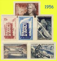 N° 1076 à 1081 - TIMBRES DE 1956 : EUROPA AIGUILLE DU MIDI STRASBOURG MONDRAGON PARMENTIER - N** SANS CHARNIÈRE NI TRACE - France