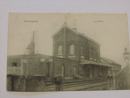 Harmignies / Mons. CPA Carte Postale. La gare. Rare. Circul�e en 1910