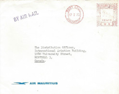 """Mauritius Maurice 1970 Port Louis Meter Franking Universal """"MultiValue"""" U6 Air Mauritius Cover - Mauritius (1968-...)"""