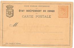 LBL20- CONGO BELGE - EP CP 15c ROUGE ORANGE NEUF - 1884-1894 Voorgangers & Leopold II