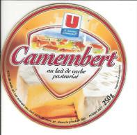 U Les Nouveaux Commerçants  / Camembert Au Lait De Vache Pasteurisé / étiquette Cartonnée Bon ETAT / - Fromage